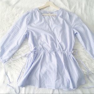 Blue + White Stripe Side Tie Blouse